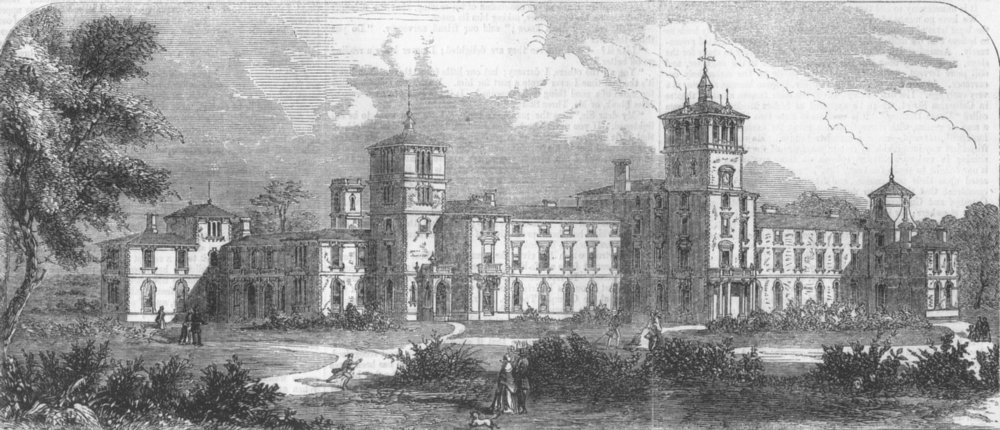 Associate Product LONDON. Orphanage being built at Denmark Hill, antique print, 1856