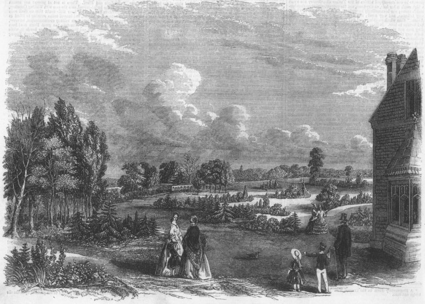 Associate Product LONDON. The new City of London Cemetery at Ilford, antique print, 1856