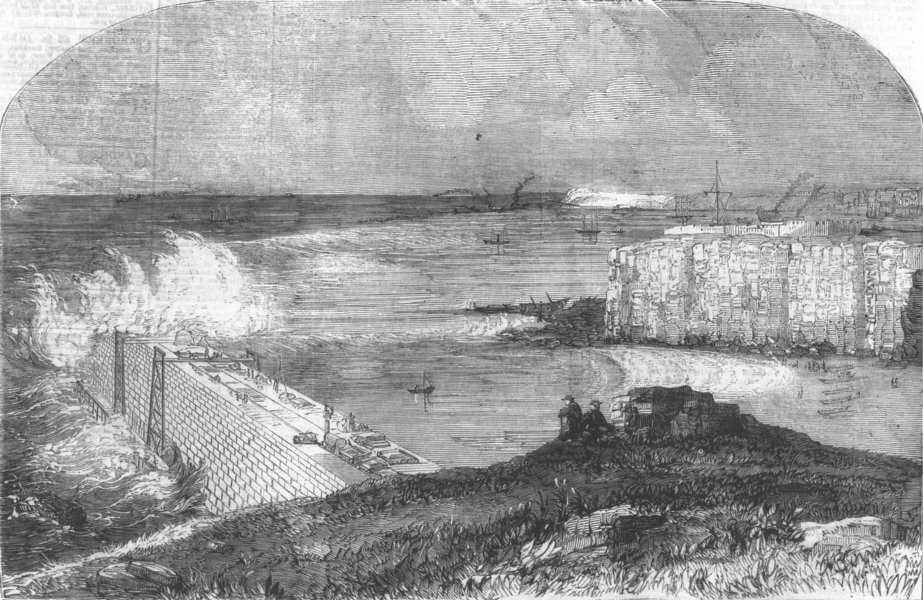 Associate Product NORTHUMBS. Breakwater being built, River Tyne, antique print, 1859