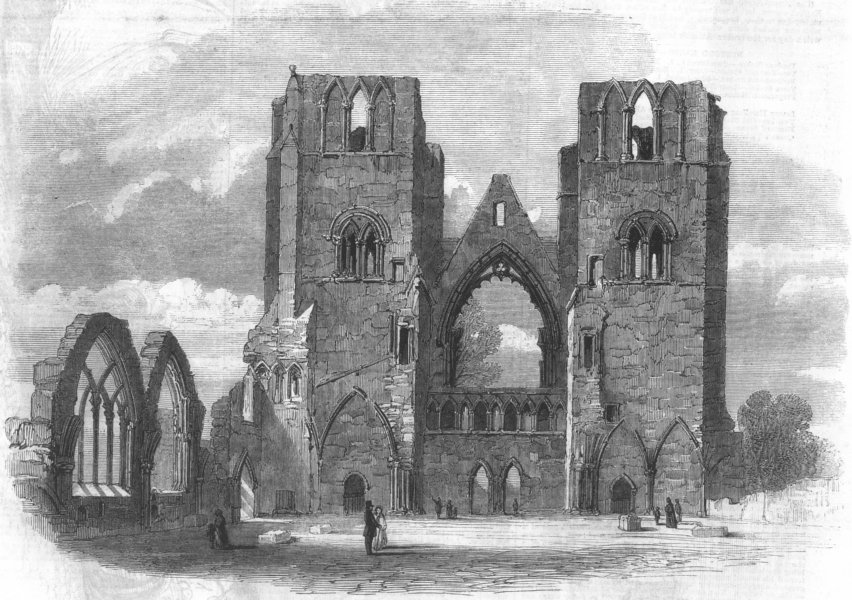 Associate Product SCOTLAND. Elgin cathedral-looking west, antique print, 1859
