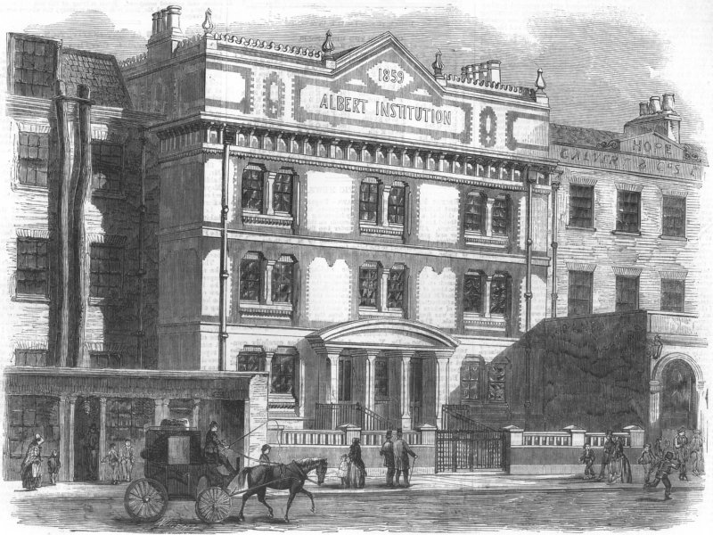 Associate Product LONDON. Albert Inst, Gravel Lane, Blackfriars Rd, antique print, 1859