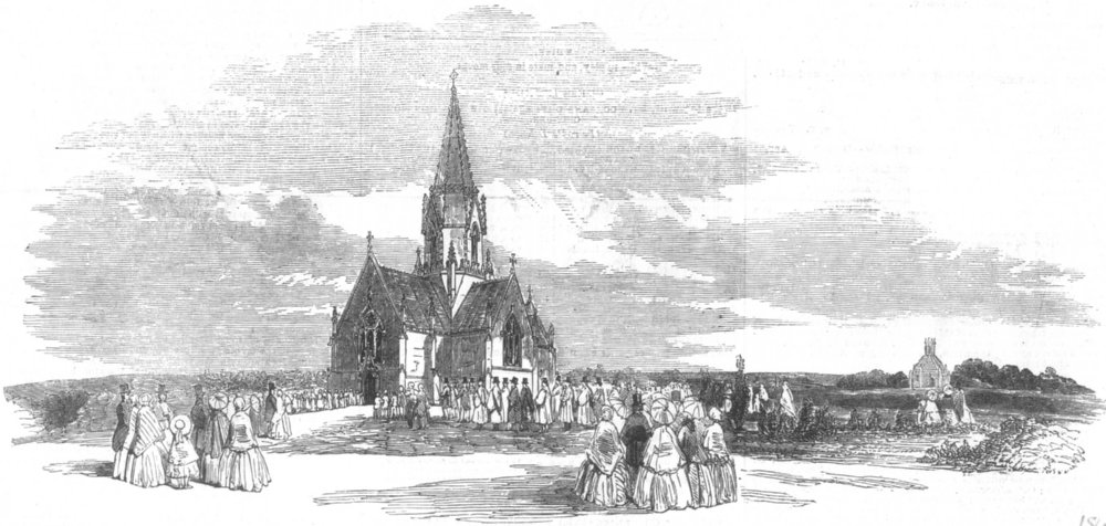 Associate Product LONDON. Cemetery consecration, Finchley-Road, antique print, 1854