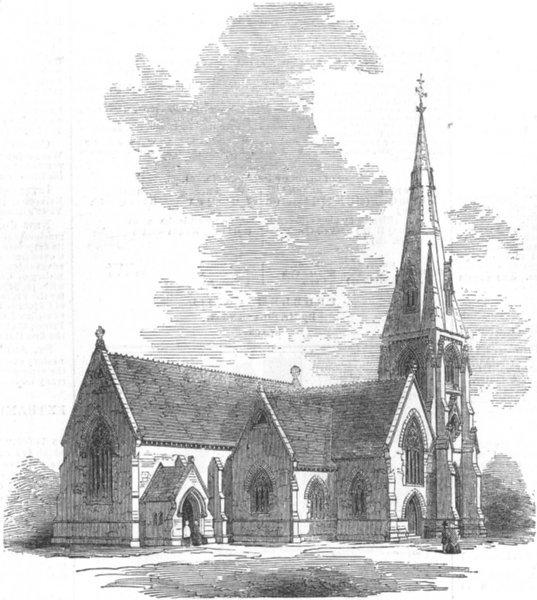 Associate Product SUFFOLK. New Church of St John Evangelist, Lowestoft, antique print, 1854