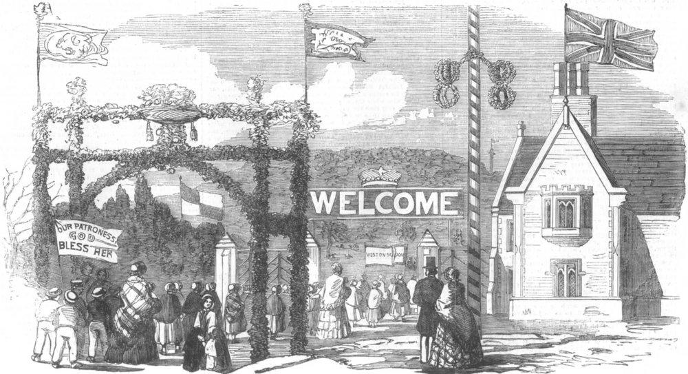 Associate Product SHROPS. Entrance to Hawkstone Park, antique print, 1854