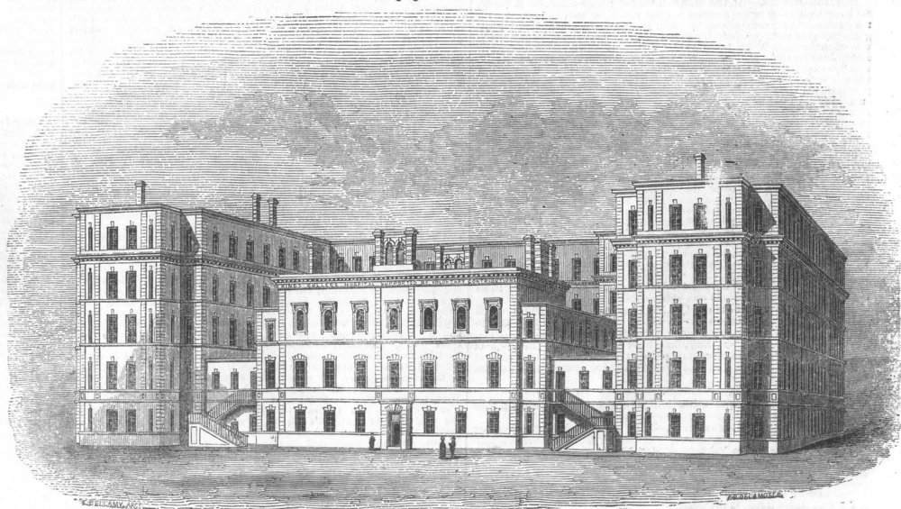 Associate Product LONDON. King's College Hospital, Carey Street, antique print, 1852