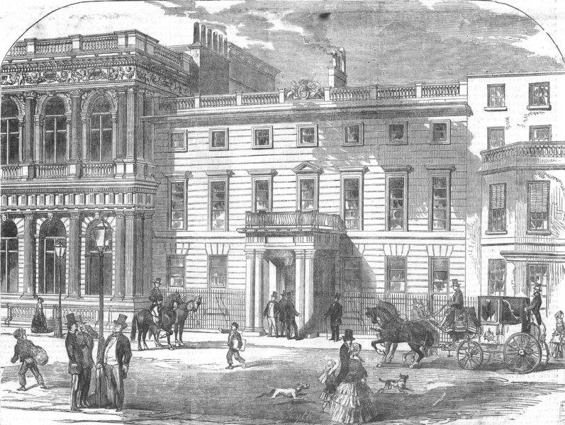 Associate Product LONDON. War Office, Buckingham House, Pall-Mall, antique print, 1855