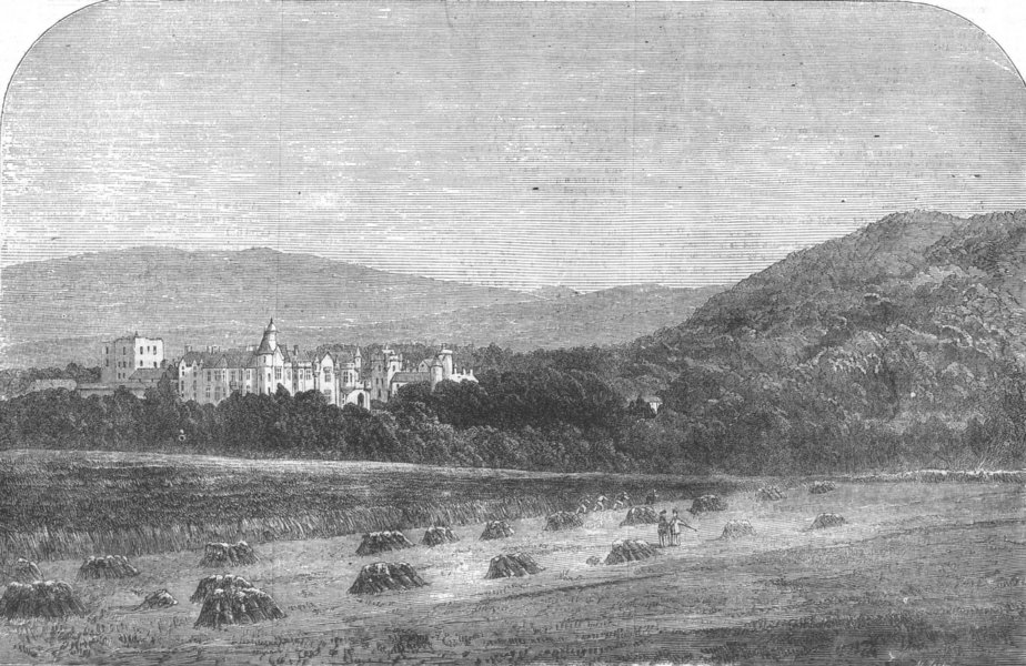 Associate Product SCOTLAND. Her Majesty's Palace at Balmoral, antique print, 1855