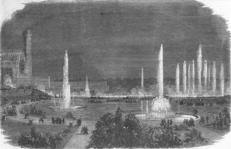 Associate Product LONDON. Torchlit festival, Crystal Palace, Sydenham, antique print, 1859