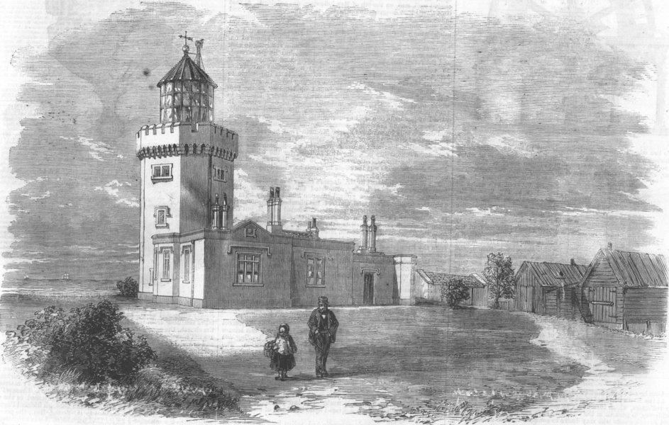 Associate Product KENT. The South Foreland lighthouse, near Dover, antique print, 1859