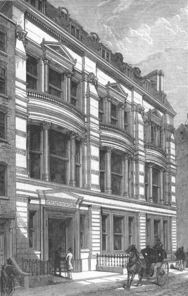 Associate Product LONDON. The City Liberal club, Walbrook, antique print, 1878