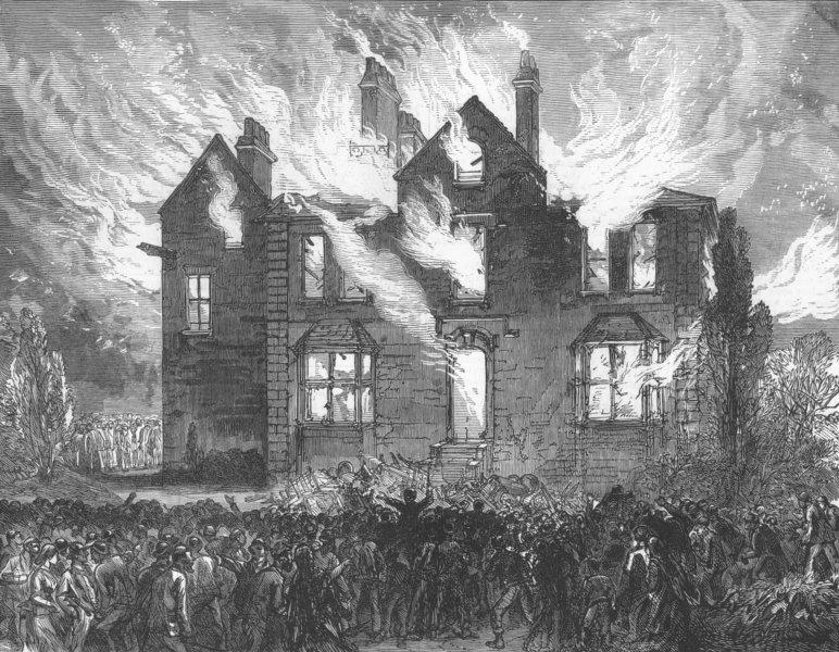 Associate Product LANCS. Col Raynsford Jacksons House, Blackburn, burnt, antique print, 1878