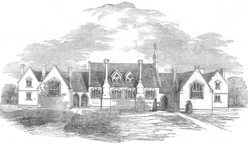 Associate Product LONDON. National & Industrial Schools, Finchley, antique print, 1855