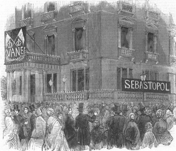 Associate Product LONDON. French embassy at Albert-Gate, Illuminated, antique print, 1855