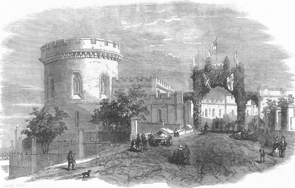 Associate Product CUMBS. Ct-Houses, Carlisle, & Triumphal Arch, antique print, 1855