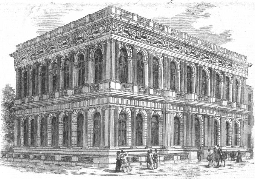 Associate Product LONDON. The Carlton new Club-House, Pall-Mall, antique print, 1855