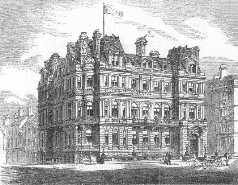 Associate Product LANCS. New Conservative Club-House, Liverpool, antique print, 1882