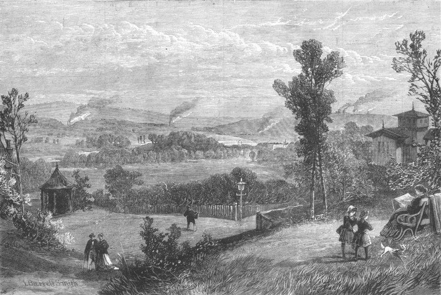 Associate Product SCOTLAND. Hamilton Palace, from Bothwell, antique print, 1882