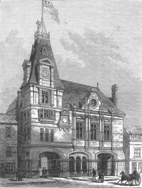 Associate Product LONDON. New townhall, Wandsworth, antique print, 1882