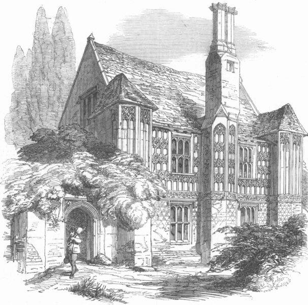 Associate Product NORFOLK. Cressingham Manor-House, antique print, 1850