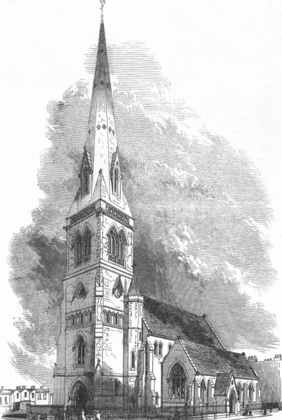 Associate Product LONDON. Church of the Holy Trinity, Haverstock Hill, antique print, 1850