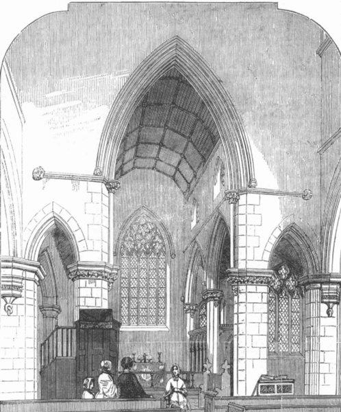 Associate Product LONDON. Chancel of Trinity Church, Haverstock Hill, antique print, 1850