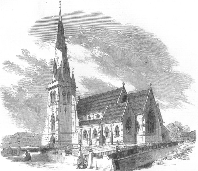 Associate Product ESSEX. New Church of St Edward, at Romford, antique print, 1850