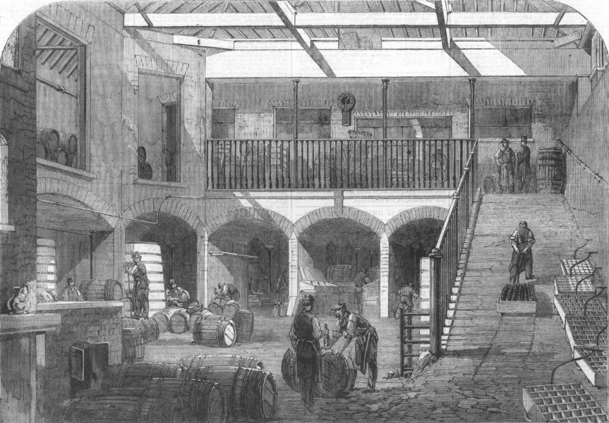 Associate Product LONDON. Gilbeys wine stores, Titchfield St, antique print, 1861