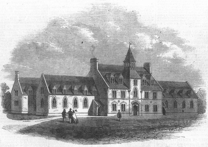 Associate Product DEVON. Devon County School, West Buckland, antique print, 1861