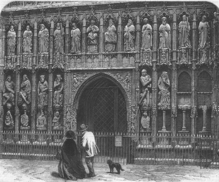 Associate Product DEVON. West screen of Exeter Cathedral, antique print, 1861