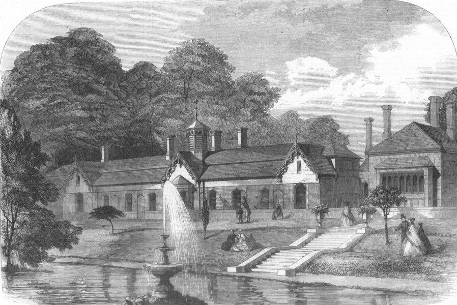 Associate Product BERKS. The Royal Aviary, near Windsor, antique print, 1861