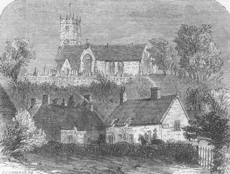 Associate Product IOW. Godshill Church, Isle of Wight, antique print, 1861
