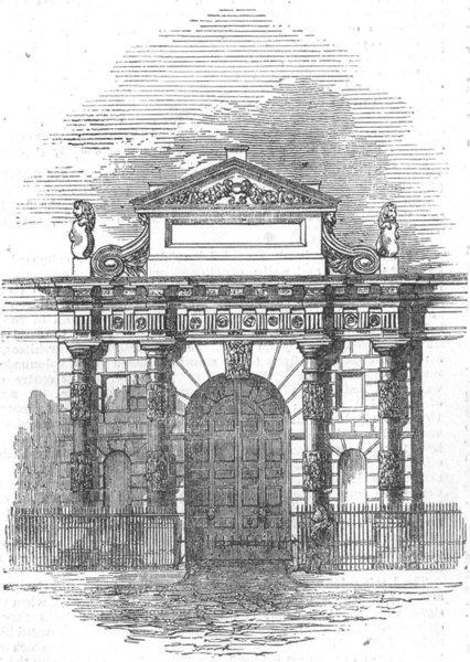 Associate Product LONDON. The entrance gateway, Burlington-House, antique print, 1855