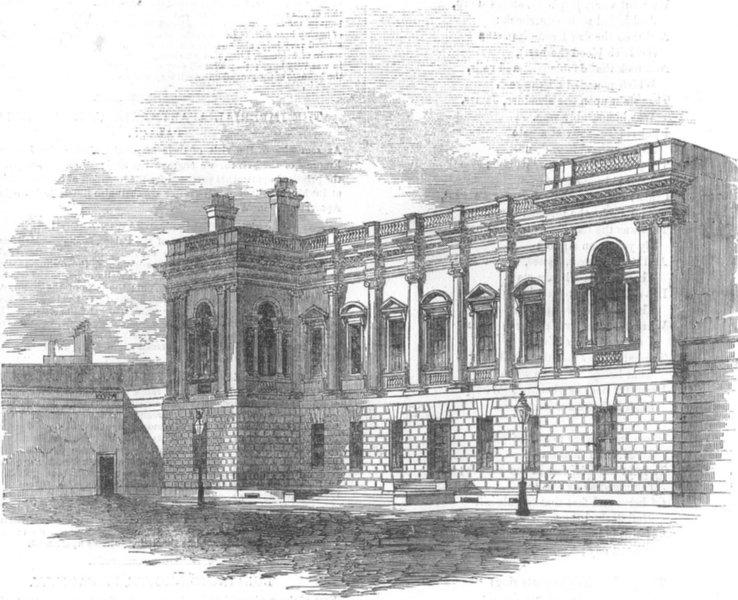 Associate Product LONDON. Burlington-House, South front, antique print, 1855