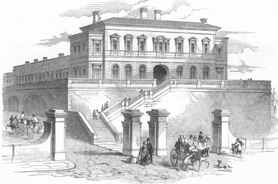 Associate Product LANCS. New Station, Tithebarn St, Liverpool, antique print, 1850