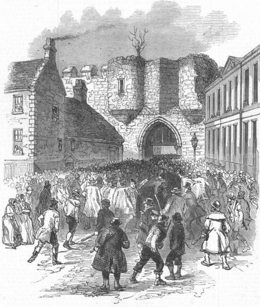Associate Product LINCS. Scene at the Castle Gate, Lincoln, antique print, 1850
