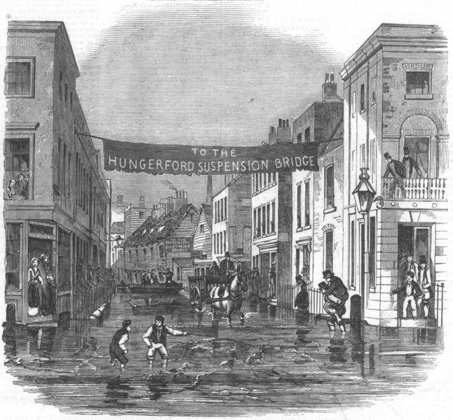 LONDON. Thames flooding-Vine St, York Rd, Lambeth, antique print, 1850