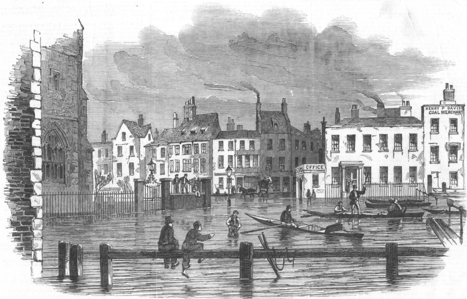 Associate Product LONDON. Overflow of Thames, -Lambeth-Stairs, antique print, 1850
