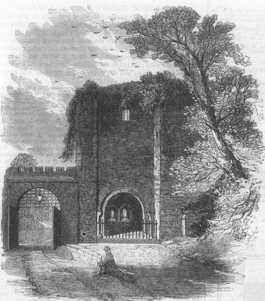 Associate Product DEVON. Gate, Rougemont Castle, Exeter, from castle Yd, antique print, 1861