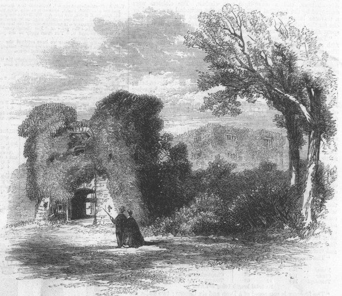 Associate Product DEVON. Archaeologists, Berry Pomeroy Castle, Exeter, antique print, 1861