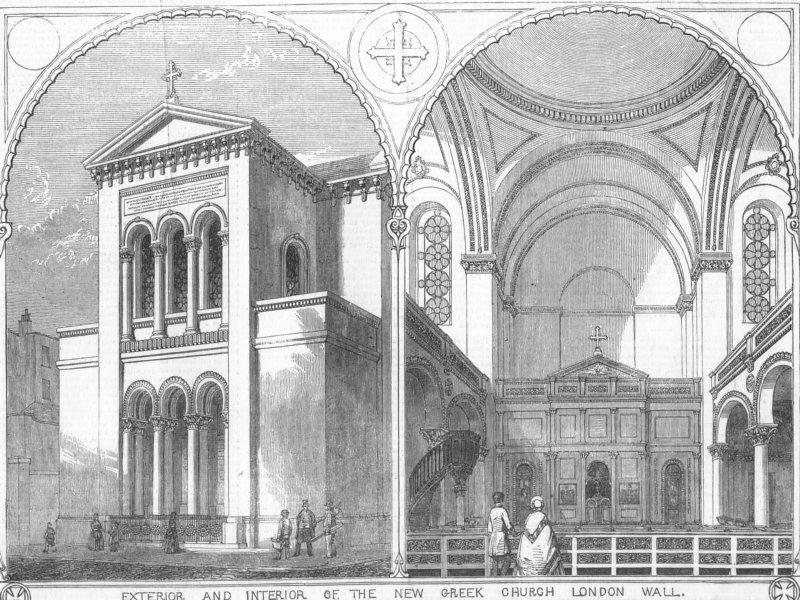 Associate Product LONDON. Greek Church, London Wall, antique print, 1850