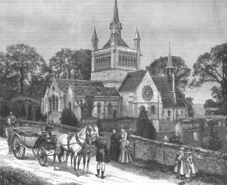 Associate Product IOW. Whippingham Church, Royal wedding, antique print, 1885