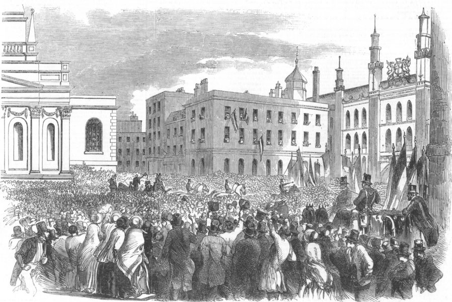 Associate Product LONDON. Arrival of M Kossuth in Guildhall-Yard, antique print, 1851