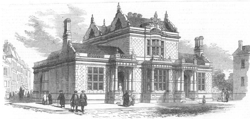 Associate Product LONDON. Baths & laundries Greenwich, antique print, 1851
