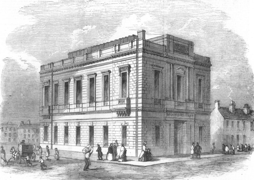 Associate Product LANCS. Exterior of the Manchester Free Library, antique print, 1851