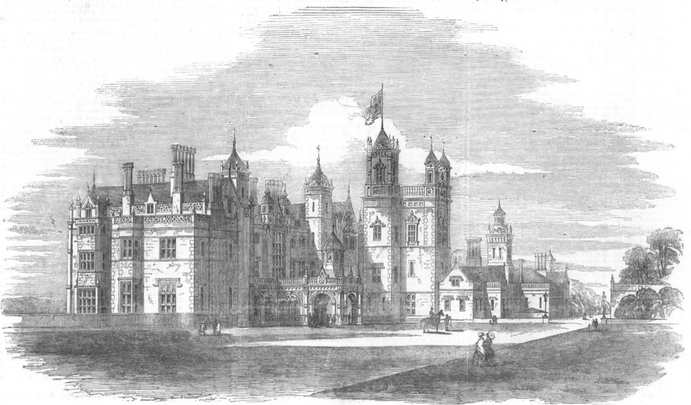 Associate Product LANCASHIRE. Worsley Hall, seat of Earl of Ellesmere, antique print, 1851