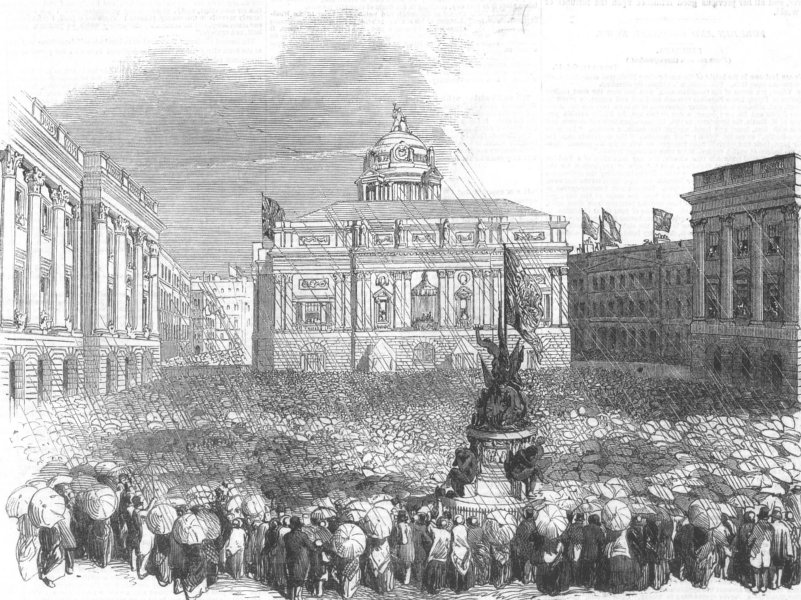 Associate Product LANCS. Queen visiting Liverpool Town Hall, antique print, 1851