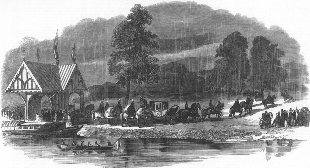 Associate Product LANCS. Arrival of Her Majesty at Worsley, antique print, 1851