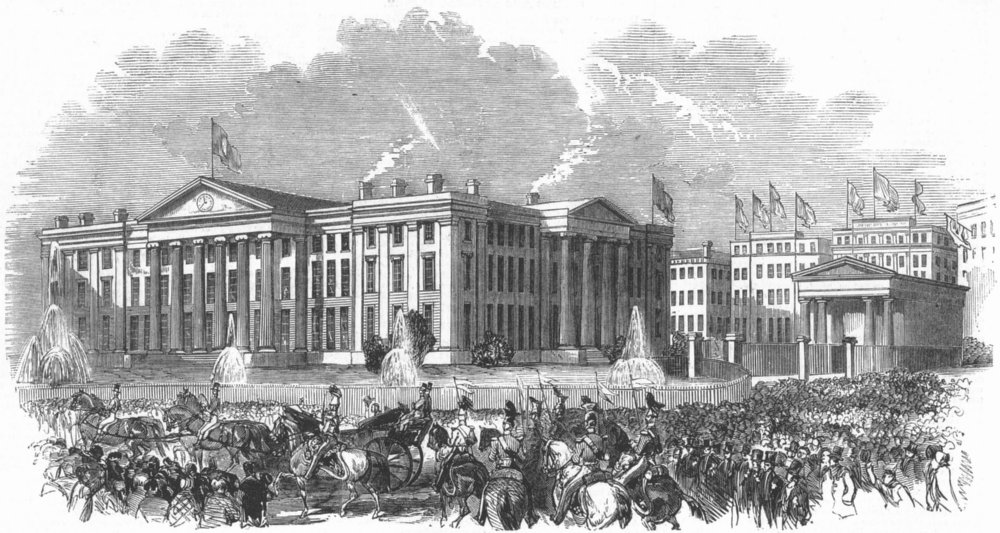 Associate Product LANCS. Royal parade passing hospital, Manchester, antique print, 1851