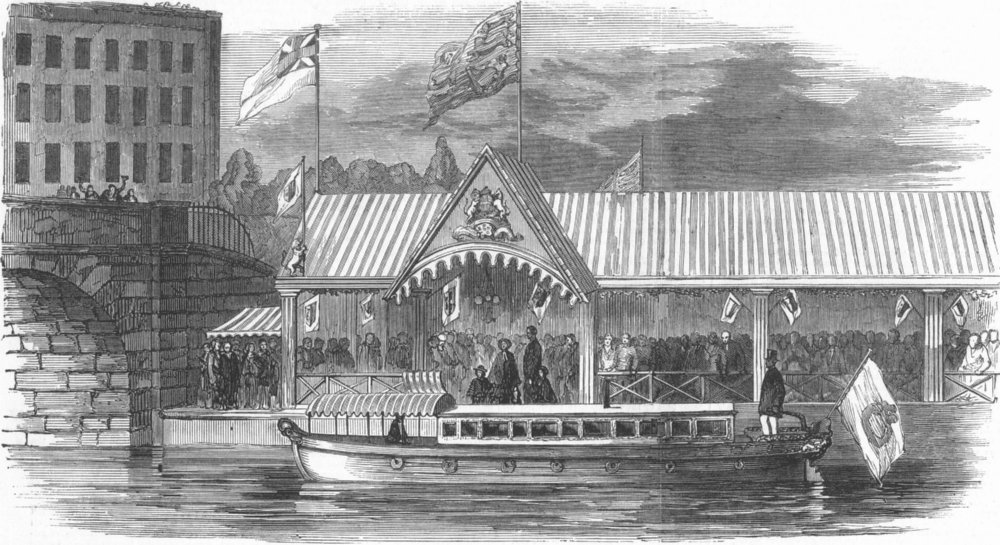 Associate Product LANCS. Arrival of Her Majesty at Patricroft Station, antique print, 1851