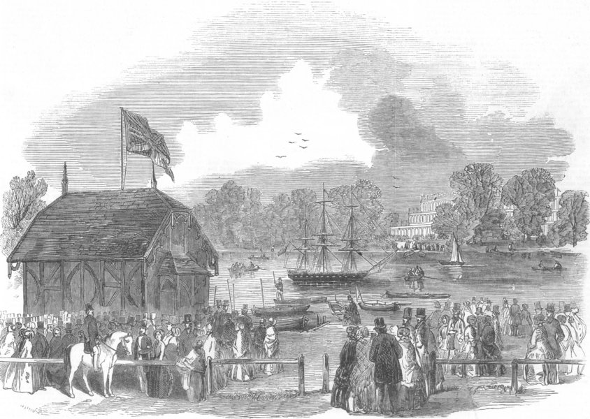 Associate Product LONDON. The Ferry at the Serpentine, Hyde-Park, antique print, 1851
